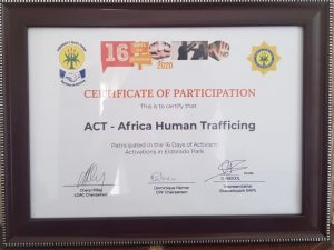 ACT Africa - 16 Days Of Activism 2020 - Certificate Of Participation