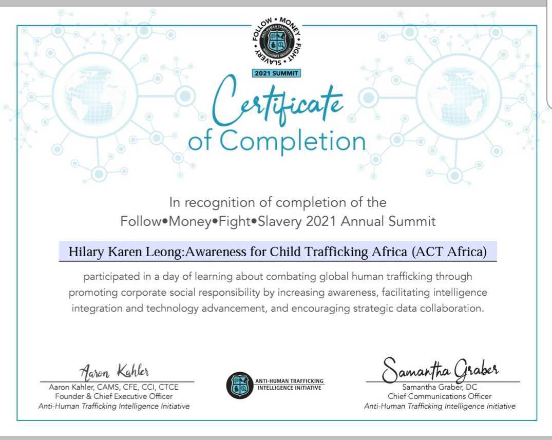 Follow Money Fight Slavery 2021 - Certificate of Completion