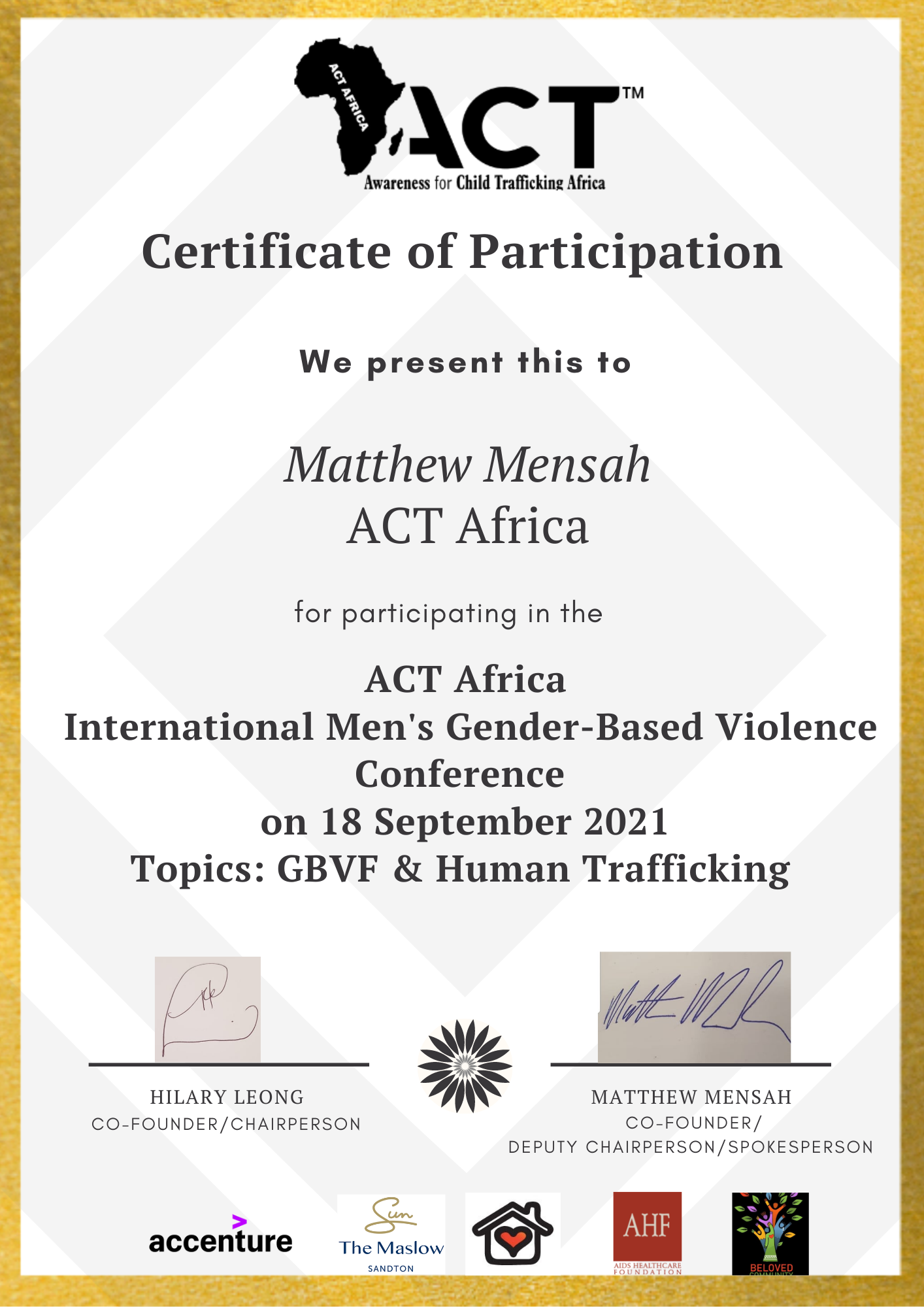 ACT Africa International Men's GBVF Certificate of Participation - Matthew Mensah
