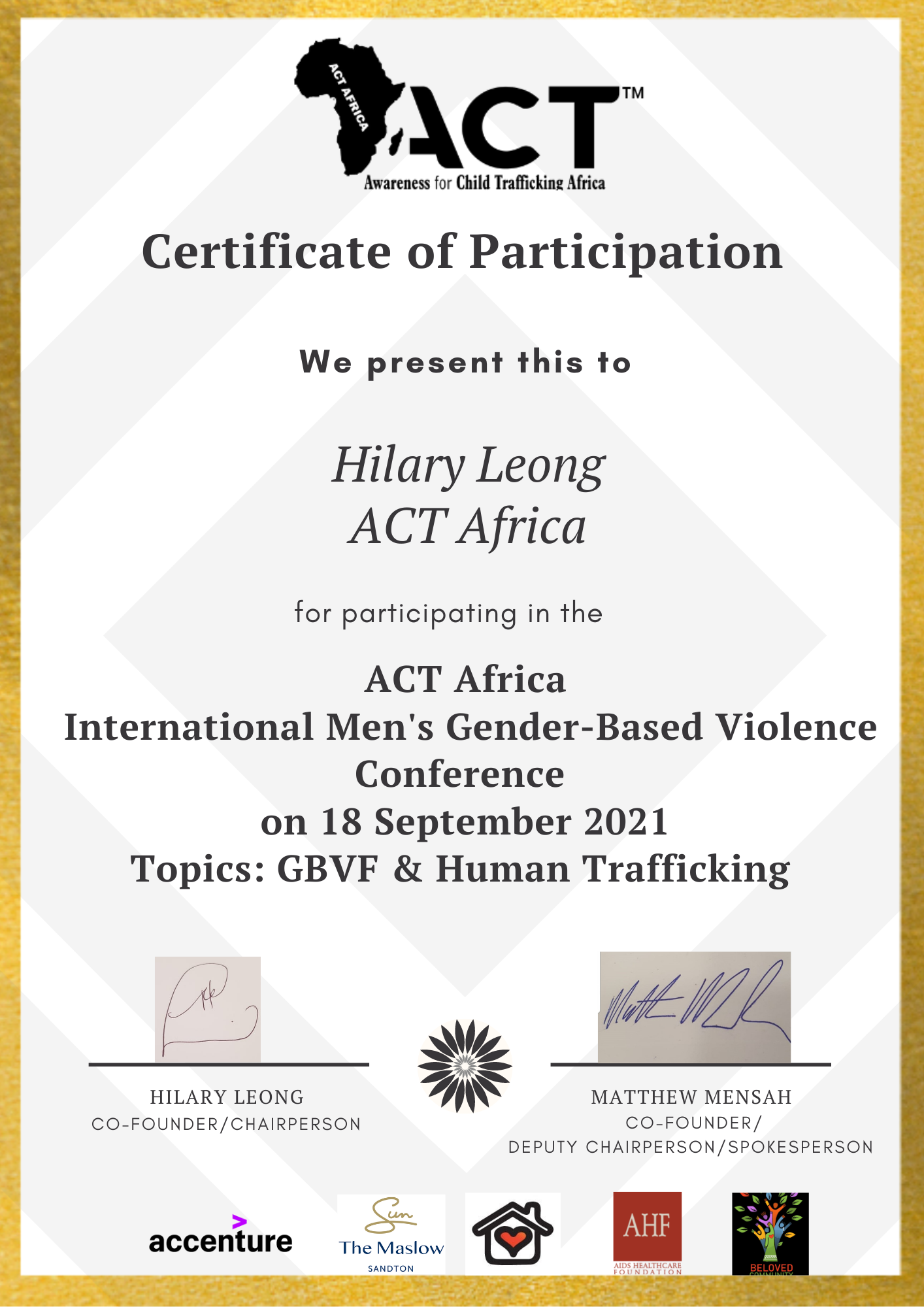 ACT Africa International Men's GBVF Certificate of Participation - Hilary Leong